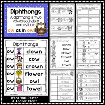 -ow Diphthong Anchor Chart & Practice {Click File, Print}