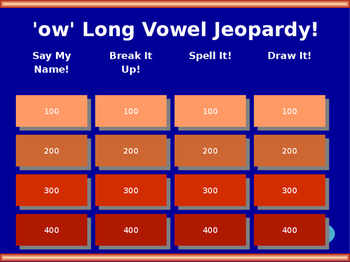 ow Long Vowel Jeopardy!