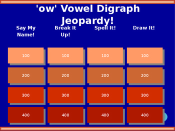 'ow' Vowel Digraph Jeopardy!