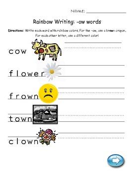 -ow word endings worksheet /ou/ worksheet