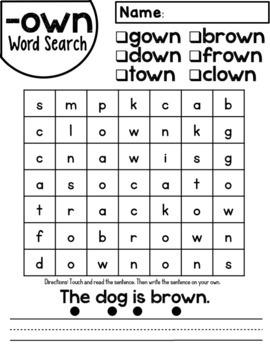 -own Word Family Worksheets
