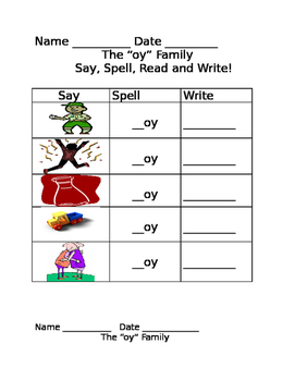 -oy family worksheets