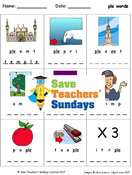 -ple words lesson plan, worksheets and other teaching resources