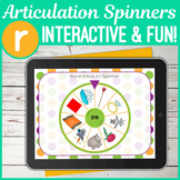 No Print R Sound Articulation Spinners for Digital Use on iPad or in Teletherapy
