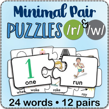 /r/ & /w/ Minimal Pairs Jigsaw Puzzles - Speech Therapy Activity Game