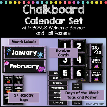 Classroom Decor Purple Chalkboard Calendar Set with BONUS