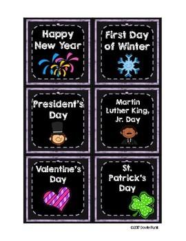 Classroom Decor Purple Chalkboard Calendar Set with BONUS