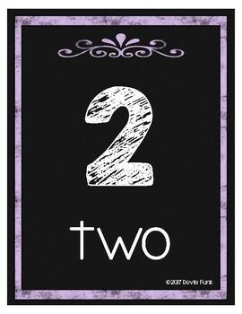 #roomdecor Classroom Decor Chalkboard Number Posters 1-20 Purple