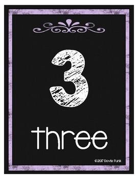 Classroom Decor Chalkboard Number Posters 1-20 Purple