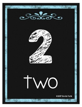 Classroom Decor Chalkboard Number Posters 1-20 Blue