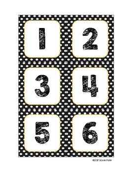 #roomdecor Classroom Decor Black & White Polka Dot Calendar Set