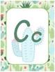 Classroom Decor Watercolor Cactus Alphabet Posters Italics