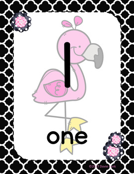 Classroom Decor Pink, Black & White Flamingo Number Posters 1-20