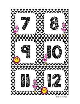 Classroom Decor Pink Black & White Flamingos Calendar Set