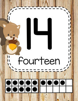 Woodland Theme Classroom Decor Theme Number Posters 1-20 Forest Animals