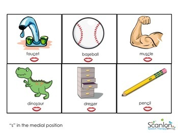 """""""S"""" Sound Articulation Cards for Speech Therapy with Visuals"""