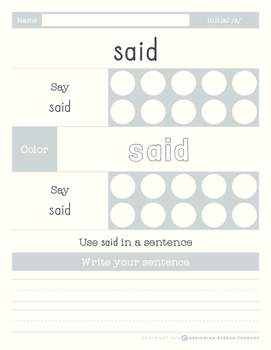 Articulation Sight Words Pack /s/ and s-blends
