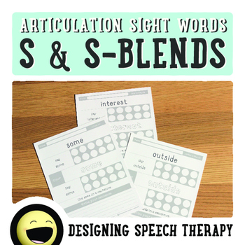 Articulation Sight Words /s/ and s-blends