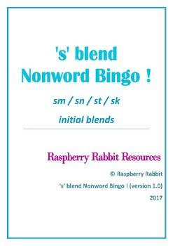 's' blend Nonword Bingo !