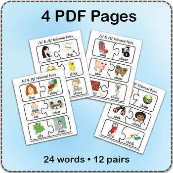 /s/ & 'ch' Minimal Pairs Jigsaw Puzzles - Speech Therapy Activity Game