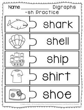 -sh Digraph Anchor Chart & Practice {Click File, Print}