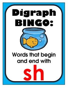 /sh/ digraphs BINGO + 12 bonus pages of /sh/ vocabulary words
