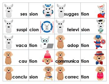 -sion, -tion, -cian, -cion Word Ending Sorting Activity & Game