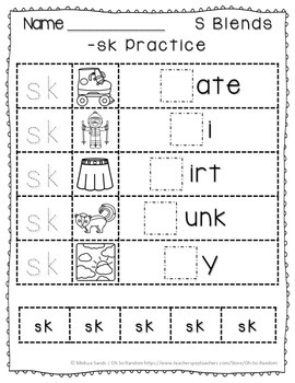-sk Blend Anchor Chart & Practice {Click File, Print}