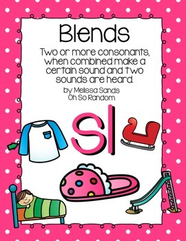 -sl Blend Anchor Chart & Practice {Click File, Print}