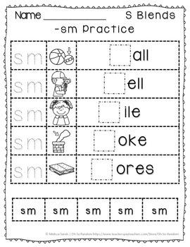 -sm Blend Anchor Chart & Practice {Click File, Print}