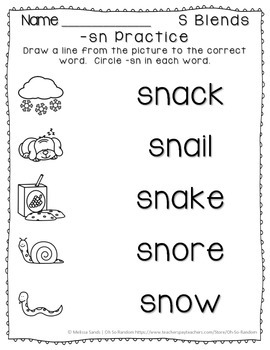 -sn Blend Anchor Chart & Practice {Click File, Print}