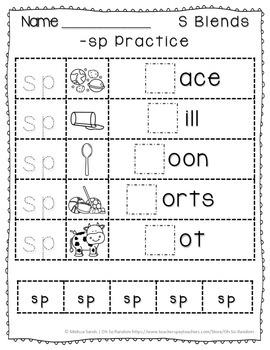 -sp Blend Anchor Chart & Practice {Click File, Print}