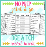 NO PREP Trigraphs DGE TCH Worksheets Phonics Word Work