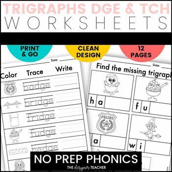 NO PREP Trigraphs DGE TCH Worksheets Phonics Word Work