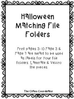 Halloween Matching File Folders