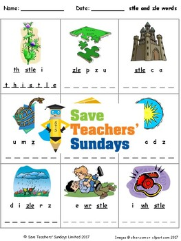 -stle and -zle words lesson plan, worksheets and other tea