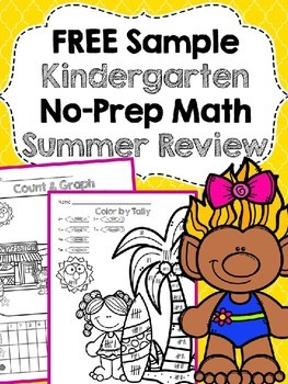 Free Sample of Kindergarten No Prep Summer Math Review