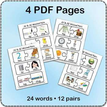 /t/ & 'ch' Minimal Pairs Jigsaw Puzzles - Speech Therapy Activity Game