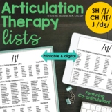 Articulation Therapy Lists for SH, CH, and J Phonemes