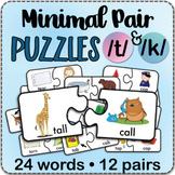 /t/ & /k/ MINIMAL PAIRS Jigsaw Puzzles - Speech Therapy Ac