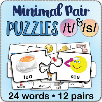 /t/ & /s/ Minimal Pairs Jigsaw Puzzles - Speech Therapy Activity Game