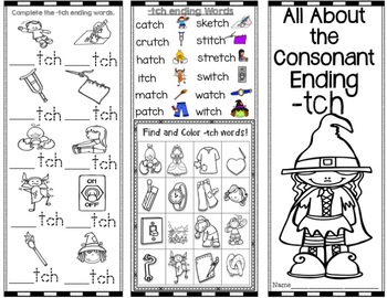 -tch consonant ending Brochure/Pamphlet - Word Work! Easy to Fold! Easy to Use!