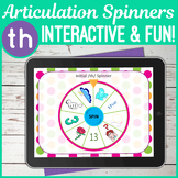 No Print TH Sound Articulation Spinners for Digital Use on iPad or Teletherapy