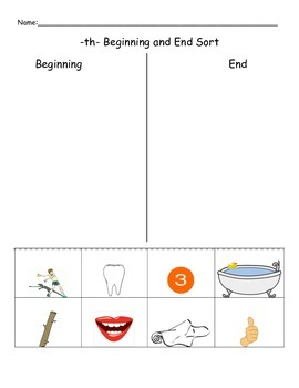 -th- Beginning or End of the word sort