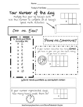 Fun Math Worksheets for Middle School: Number of the Day