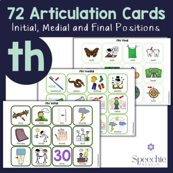 /th/ Voiced and Voiceless Articulation Flashcards - Initial, Medial and Final