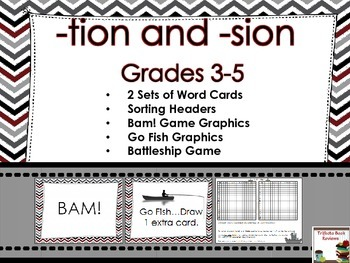 -tion and -sion Suffix ~ Word Sort and Games