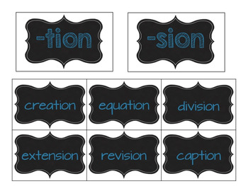 -tion and -sion Word Sorts