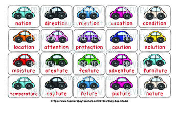 -tion and -ture Sorting Game