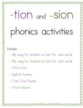 tion and sion phonics packet by jennifer tracy tpt. Black Bedroom Furniture Sets. Home Design Ideas